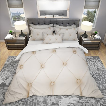 DESIGN ART Designart 'Cream Colored Luxury Diamond Shaped Couch Leather' Modern & Contemporary Bedding Set - Duvet Cover & Shams