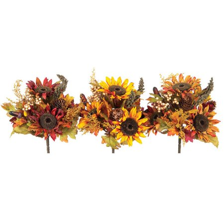Club Pack of 12 Fall Artificial Yellow, Orange & Red Sunflower & Berry - Fall Sunflower Bouquet