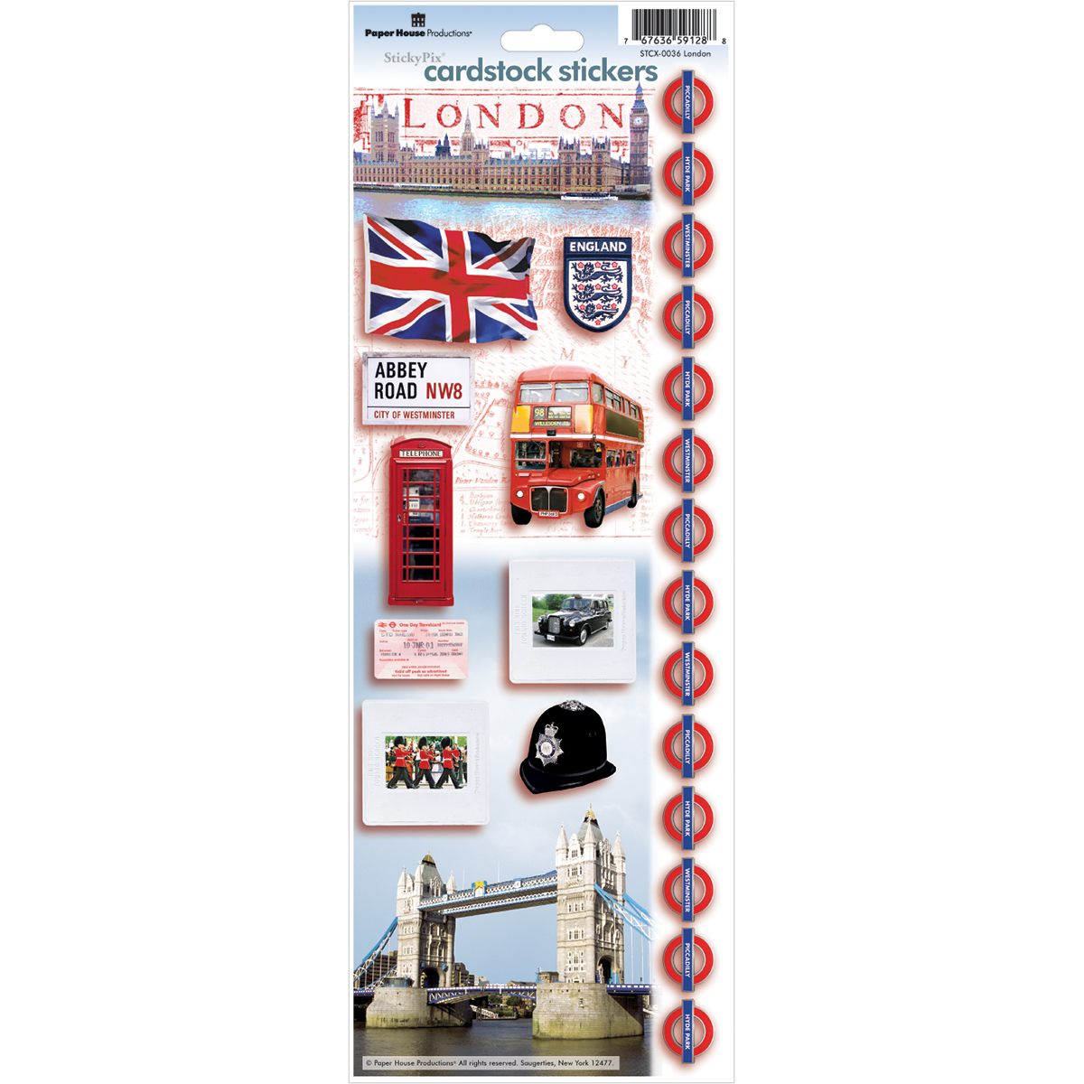 "Paper House Cardstock Stickers 4.625""X13""-London"