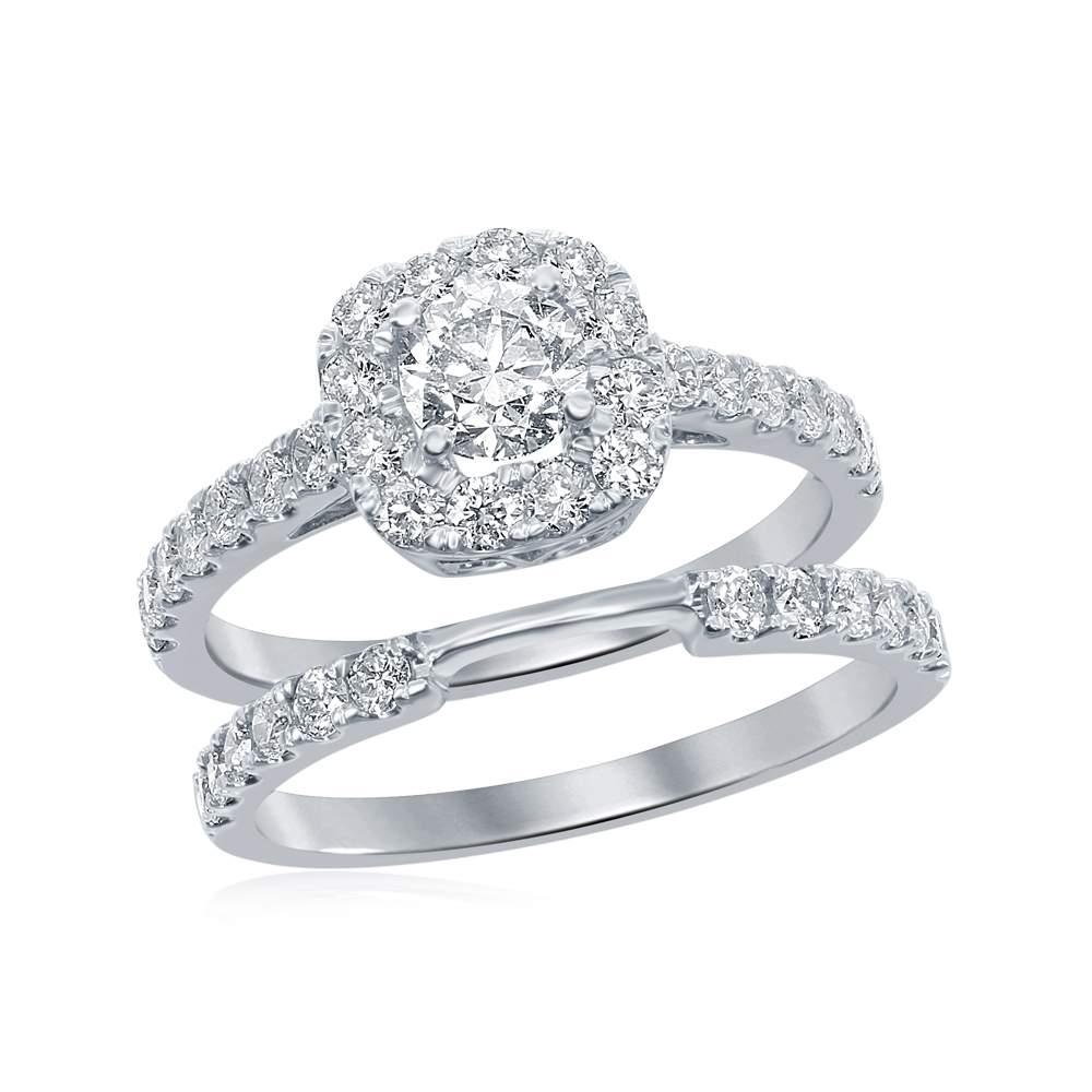 14kt White Gold Womens Round Diamond Halo Bridal Wedding Engagement Ring Band Set 1-1/2 Cttw