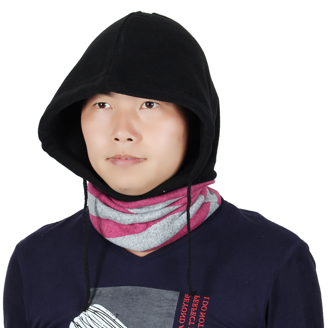 Fleece Adjustable Rope Cycling Double Layer Neck Warmer Protector Hood Balaclava by