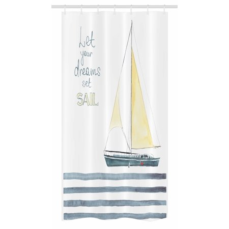 Nautical Stall Shower Curtain Let Your Dreams Set Sail Quote Stripes Yacht Interior