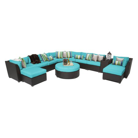 TK Classics Barbados Wicker 11 Piece Patio Conversation Set with Ottoman with 2 Sets of Cushion Covers ()