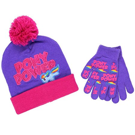 Beanie Cap - My Little Pony - Power Purple w/Gloves Set Youth/Kids - My Little Pony Hats