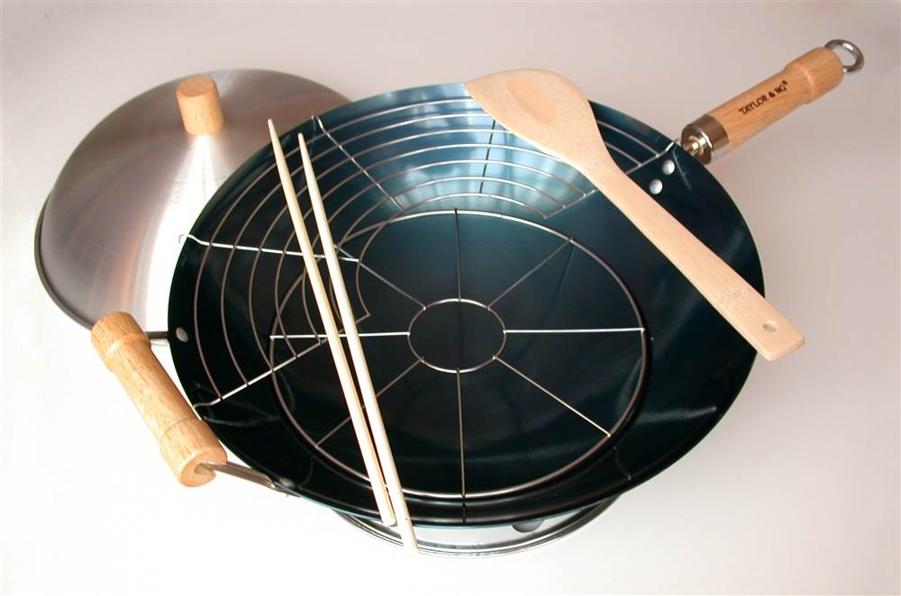 7 Pc 14 in. Round Bottom Wok Set by Taylor and Ng