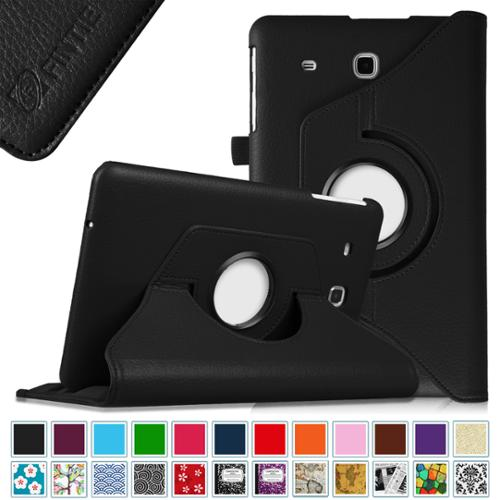 Fintie Samsung Galaxy Tab E 9.6 / Tab E Nook 9.6 Inch Tablet Case - PU Leather 360 Degree Rotating Cover, Black