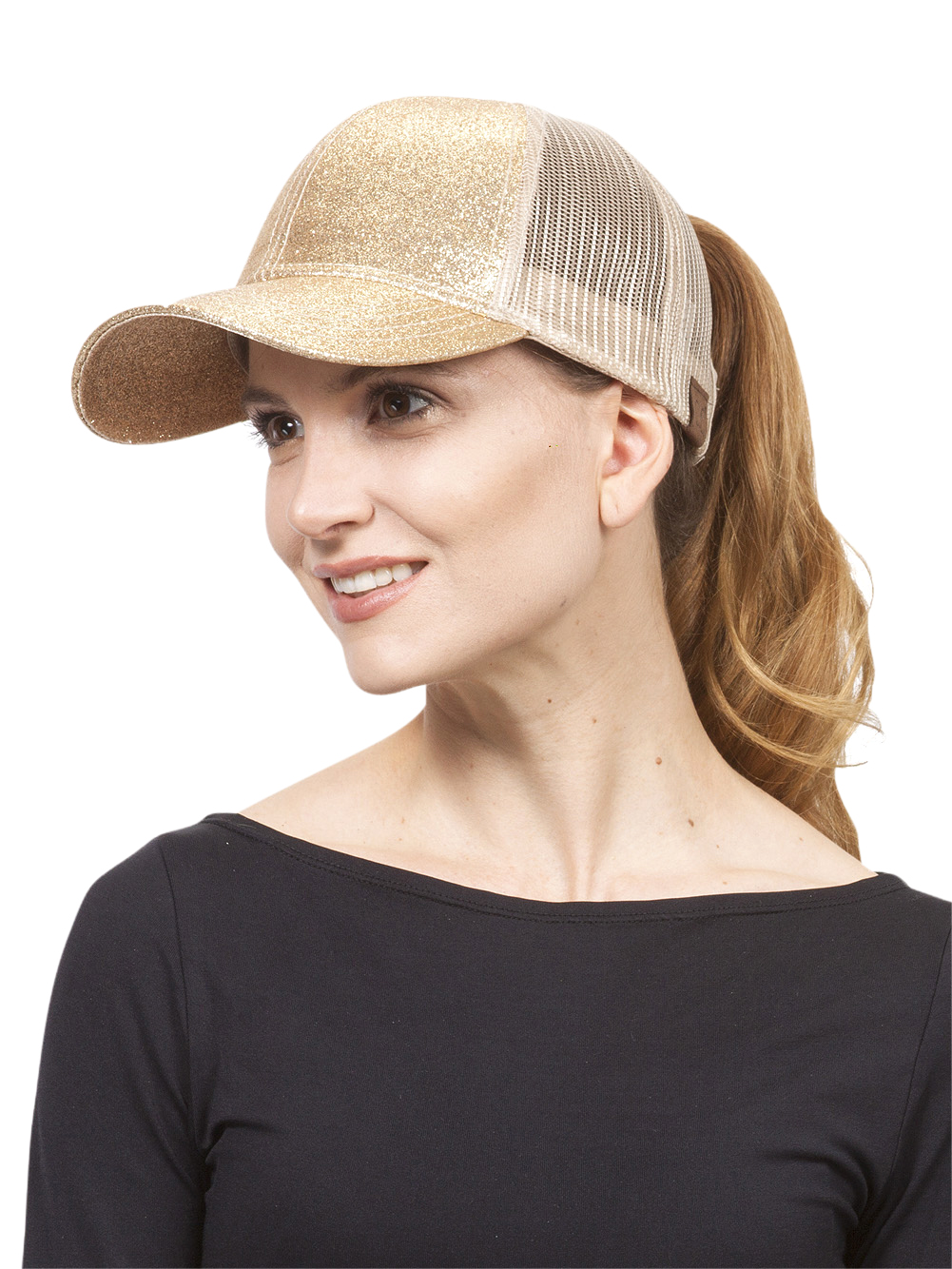 Glitter Pony Tail Outlet Mesh Adjustable Hat