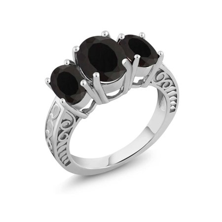 3.60 Ct Oval Black Onyx 925 Sterling Silver Ring (Black Lantern Ring)