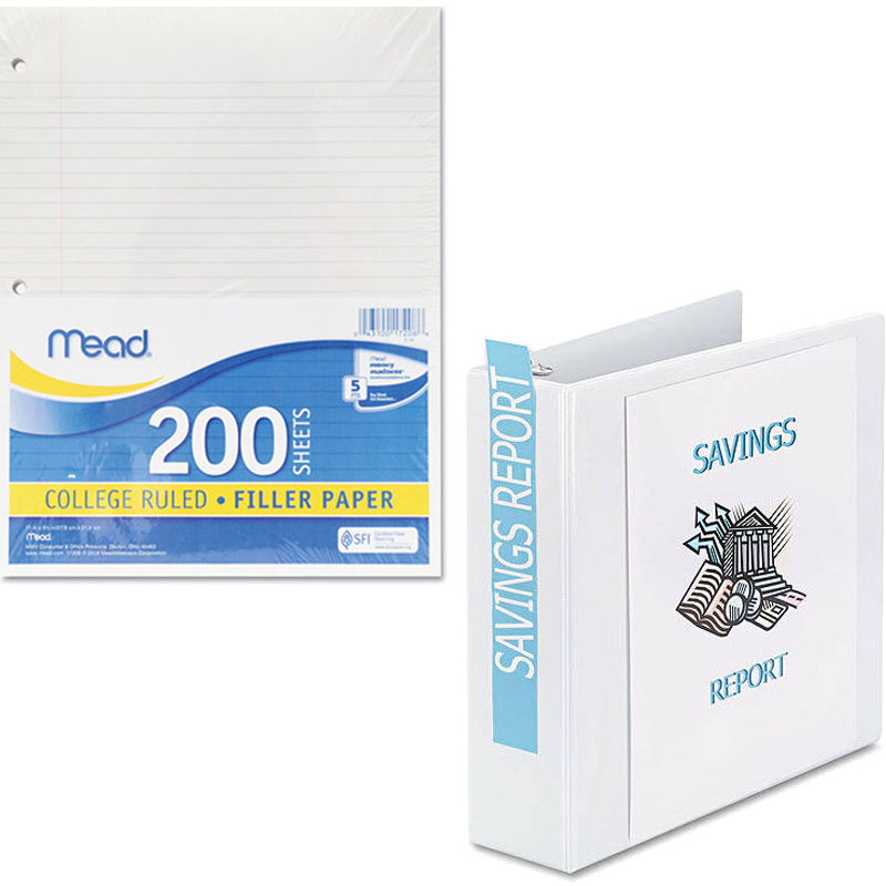 """Mead Filler Paper, College Ruled, 3-Hole Punched, 11 x 8-1/2, 200 Sheets Per Pack and Avery Durable Reference Vinyl EZ-Turn Ring View Binder, White, 2"""" Capacity Bundle"""