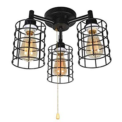 Industrial Ceiling Light With Pull Chain Metal Wire Cage Semi Flush Mount Ceiling Lighting Steampunk Pull String Light Fixture 3 Lights Edison E26 076 Walmart Com Walmart Com