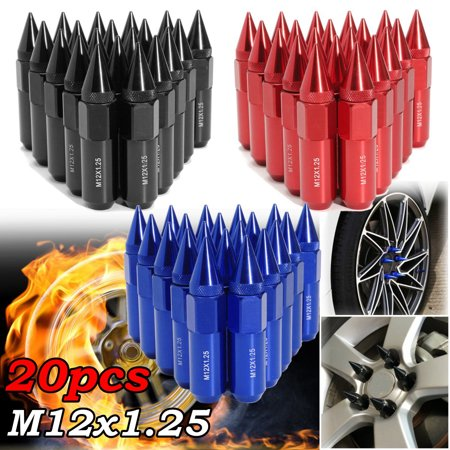 20pcs Aluminum Alloy M12X1.25mm Wheel Rim Lug Nut Spiked 60mm Extender Tuner Set Universal Auto Vehicle SUV For Buick For Mazda For Honda Chevrolet