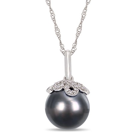 Miabella 10-11MM Black Tahitian Cultured Pearl and Diamond-Accent 14kt White Gold Drop Pendant, 17