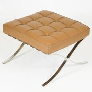 LeisureMod  Bellefonte Modern Light Brown Leather Pavilion Ottoman