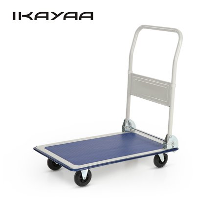 iKayaa Heavy-duty 150KG Capacity Folding Platform Truck Cart Warehouse Foldable Dolly Hand Truck 4 Wheels for Office Industry Garden