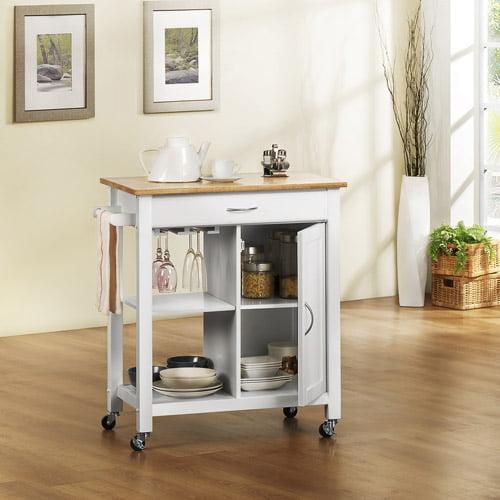 Aeden Natural Wood Top Kitchen Cart, White