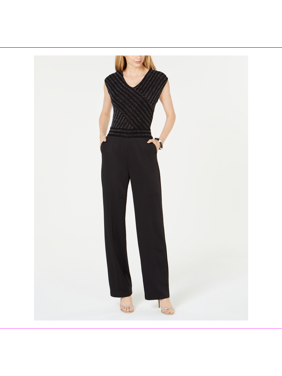 Ny Collection Women's V-neckline At Front And Back Petite Wide-Leg Jumpsuit  PM/BKTWI