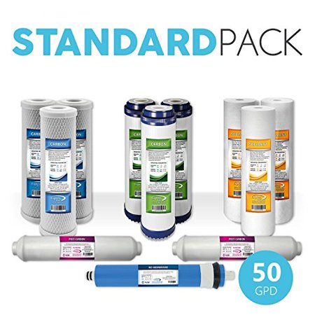 Express Water Reverse Osmosis RO Replacement Filter Cartridges Post Inline Carbon + 50 GPD Membrane + Granular Activated Carbon + Carbon CTO + Sediment 12 Pcs Total