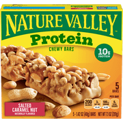 Nature Valley 10g Protein Chewy Granola Bars, Salted Caramel Nut, 5 Ct, 7.1 Oz