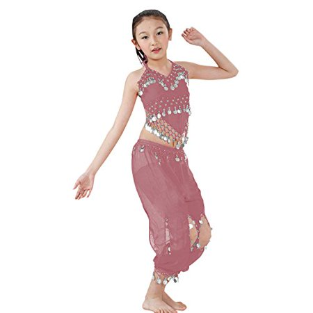 Hip Shakers Kids Professional Belly Dance Genie Costume with Silver - Silver Belly Dance Costume