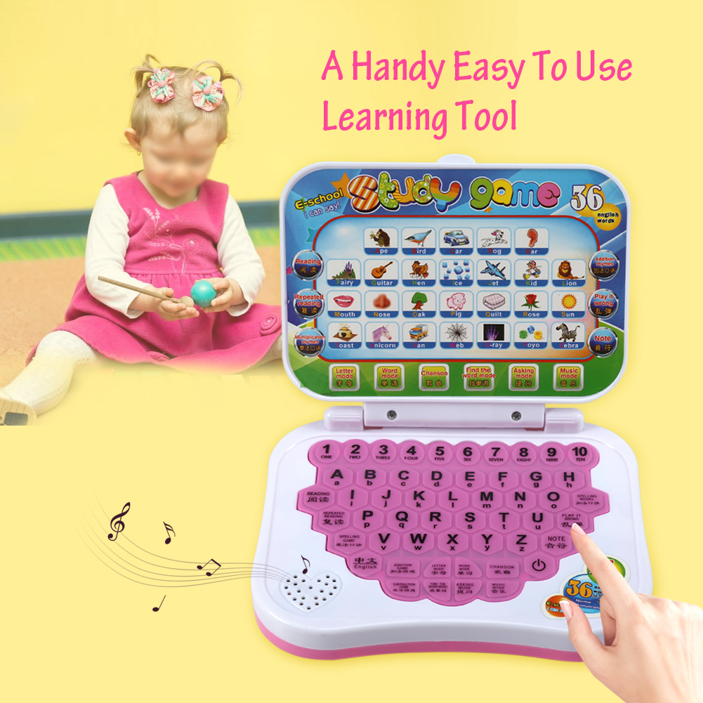 Baby Kids Children Bilingual Educational Learning Study Toy Laptop Computer Game, Children Laptop, Toy Laptop