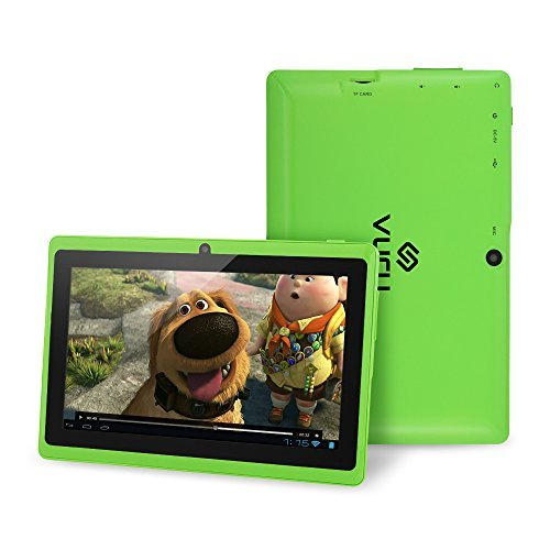 VURU A33 8GB Quad-Core Touchscreen Android Tablet 7 inch with Wi-Fi a Runs Android OS 4.4 a Features Front & Rear Cameras, Bluetooth, 1024 x 600 Resolution & Rechargeable 3000mAh Battery - Green