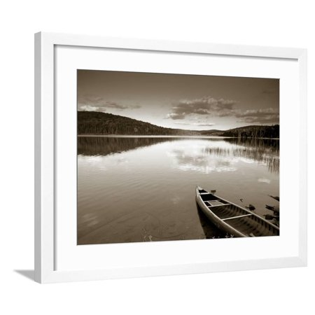 Boat on Lake in New Hampshire, New England, USA Framed Print Wall Art By Peter