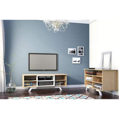 Stiletto Entertainment Kit with 54-inch TV Stand with a White Insert & a Tallboy