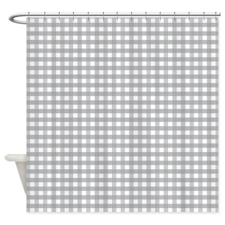 CafePress - Grey Gingham Pattern - Unique Cloth Shower Curtain (Gingham Shower Curtains)