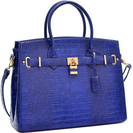 M MARCO Croco Vegan Leather Padlock Satchel with Strap Croco Leather Handbags