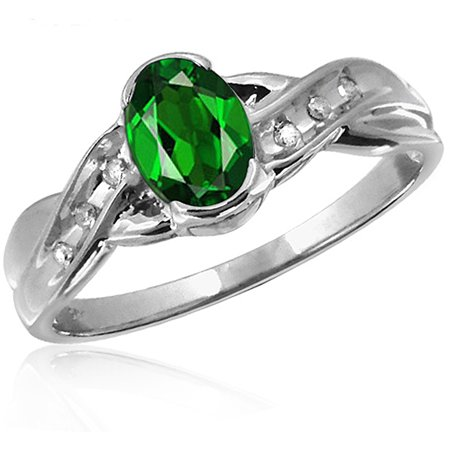 JewelersClub 0.83 Carat T.G.W. Chrome Diopside Gemstone and White Diamond Accent Ring