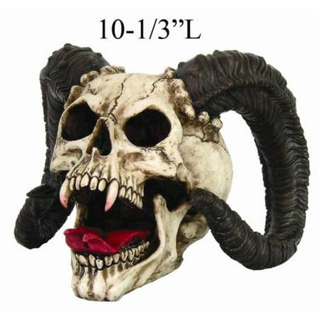 Gothic Halloween Decor Skull of Devilish Horned Beast Sculpture Statue - Skull Decor