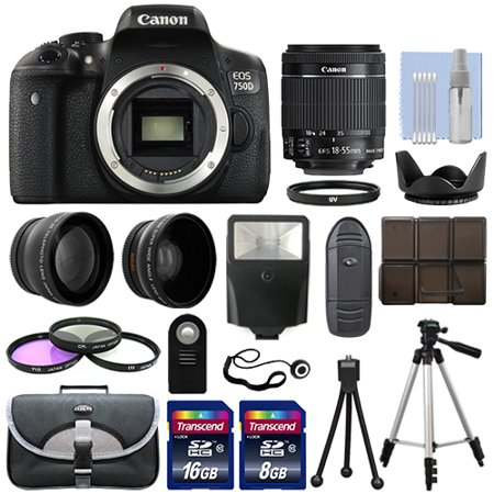 Canon EOS 750D DSLR Camera Body + 3 Lens Kit 18-55mm IS STM+ 24GB + Flash &