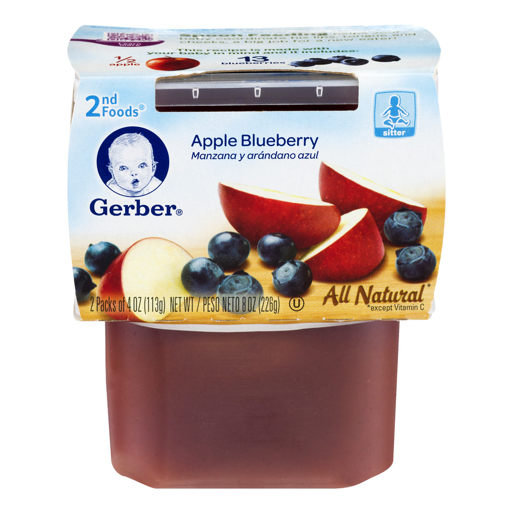 Gerber® 2nd Foods® Apple Blueberry Baby Food, 4 oz, 2 count