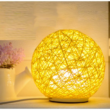 Luminous Rattan Color Ball Lamp with Direct plug . Soft light accent any room, office, Product Size: 5