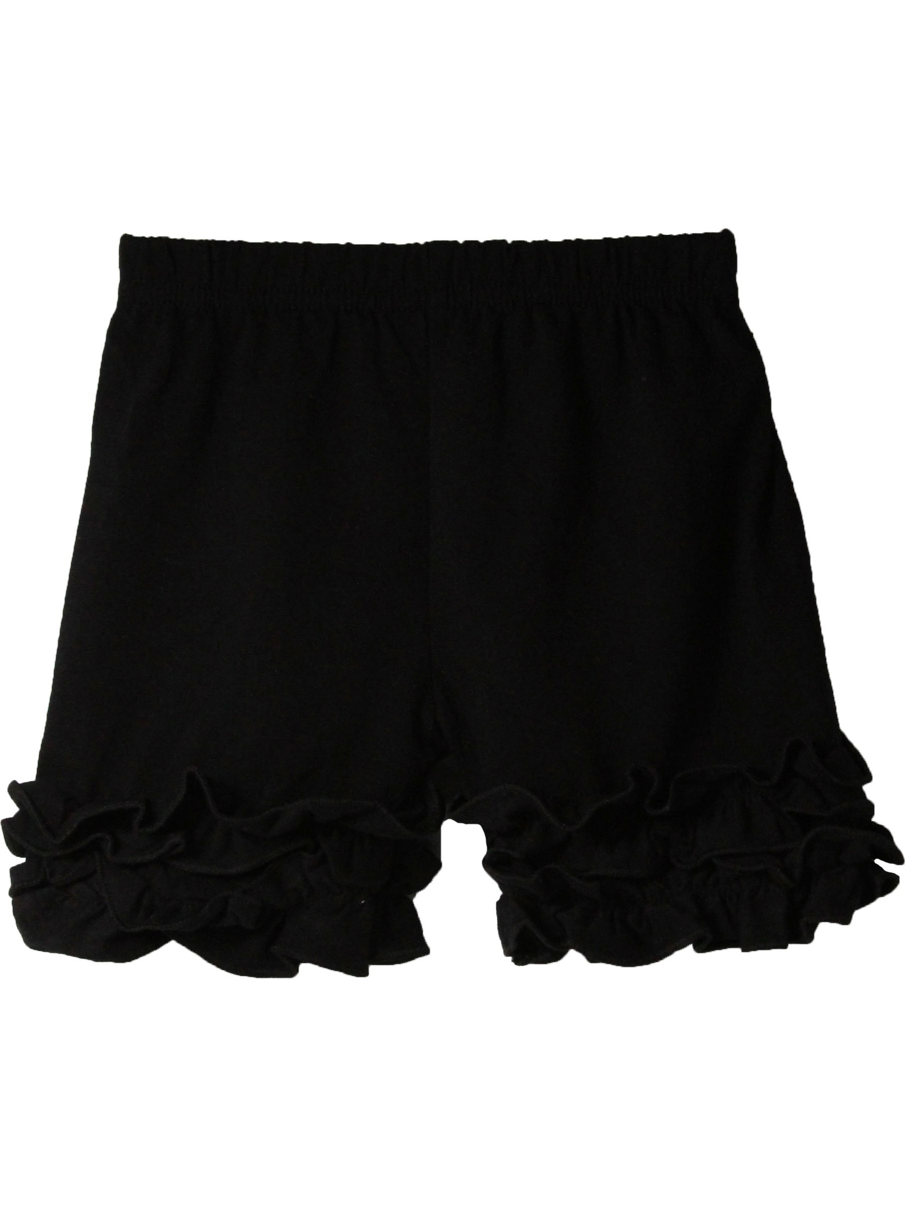 Girls Black Elastic Waist Ruffle Bottom Icing Boutique Shorts