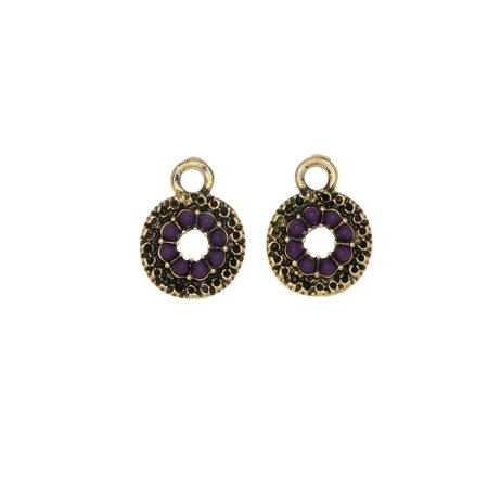 Zola Elements Charm, Royal Purple Textured Coin 10x13mm, 2 Pieces, Antiqued Silver Tone