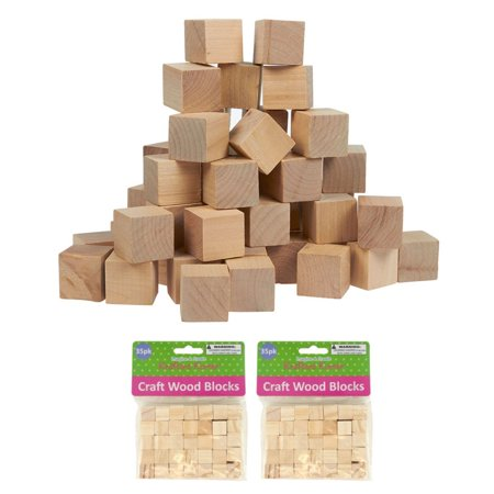 70 Wood Craft Blocks Natural Wooden Unfinished Hardwood Blocks Square 0.6