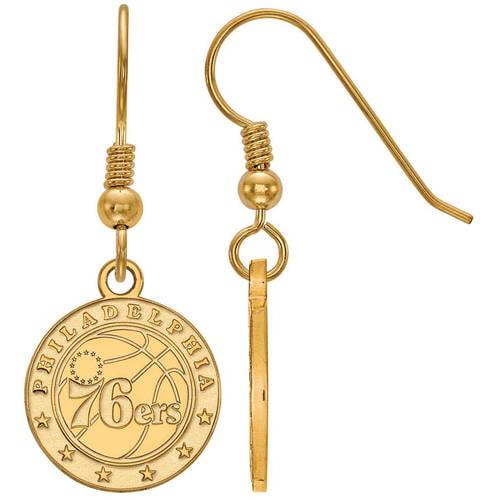 LogoArt NBA Philadelphia 76ers 14kt Gold-Plated Sterling Silver Dangle Earrings