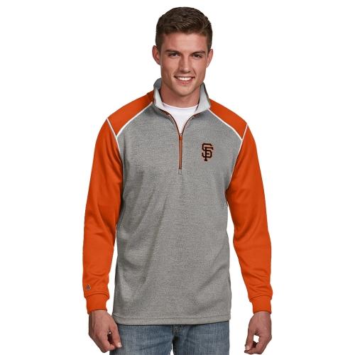 San Francisco Giants Antigua Breakdown Quarter-Zip Knit Sweater - Gray/Orange