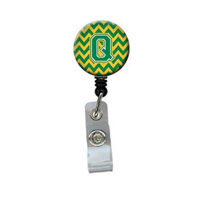 Carolines Treasures CJ1059-QBR Letter Q Chevron Green & Gold Retractable Badge Reel - image 1 de 1