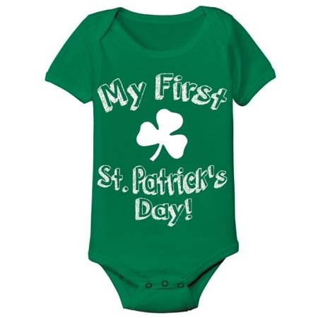 My First St Patricks Day New Born Green Baby One Piece - Big And Tall Onesie