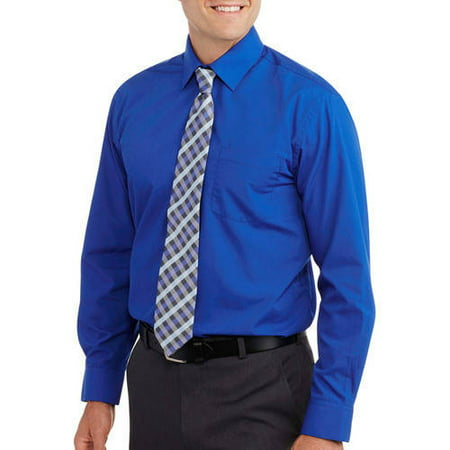 Men 39 s solid dress shirt with matching tie for Mens shirts with matching ties