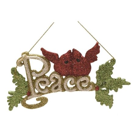 """6"""" Merry & Bright White, Green and Red Glitter """"Peace"""" Inspirational Christmas Ornament"""