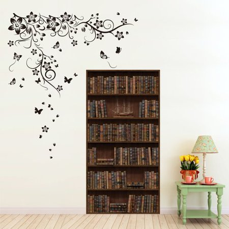 Winston Porter Dartington New Huge Butterfly Vine And Vintage Bookshelf Wall Decal