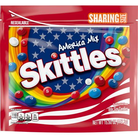 SKITTLES America Mix Red, White & Blue Patriotic Candy 15.6 oz. Sharing Size Bag