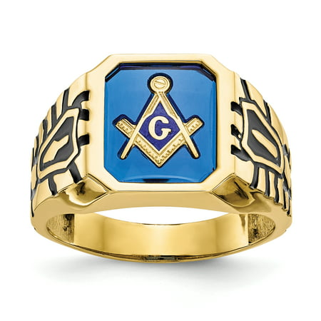 10k Yellow Gold Blue Acrylic Men's Masonic Ring