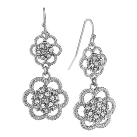 (Silver Tone Crystal Flower Drop Earrings)