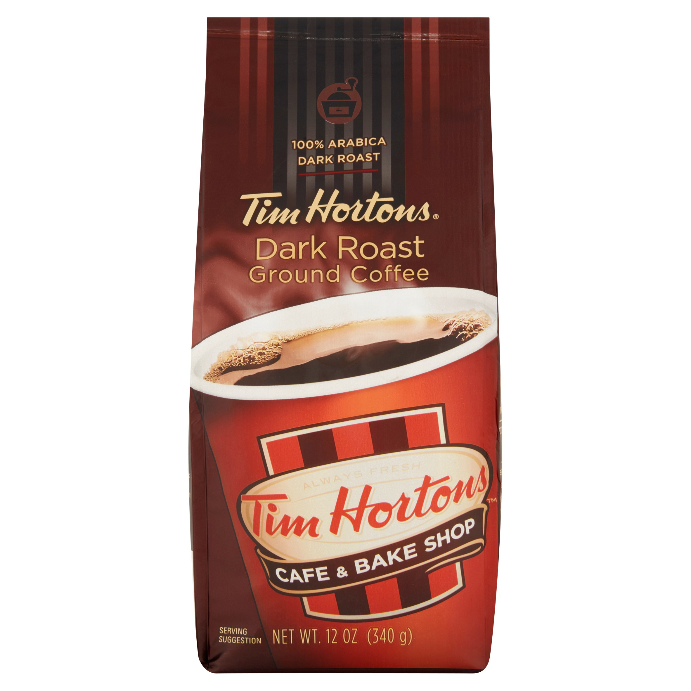 Tim Hortons Cafe & Bake Shop Dark Roast Ground Coffee, 12 oz, 6 pack