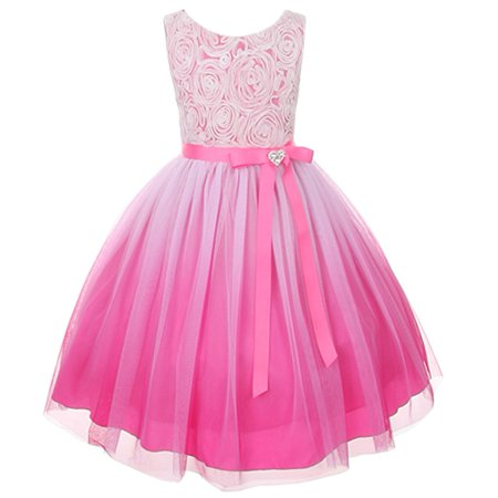 Kids Dream Girls Fuchsia Ombre Rosette Special Occasion Dress 12