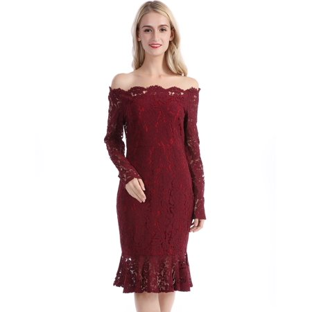 CHICIRIS - CHICIRIS Women s Vintage Off Shoulder Floral Lace Slim Cocktail  Pencil Dress Women Formal Mermaid Dress Lace Ruffle Hem Dress Female Party  Dress ... de8b550e4